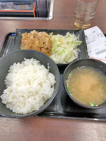 180919吉野家新富町豚生姜定食1.jpg